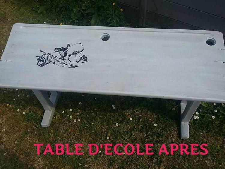 ancienne table d'écolier restauré