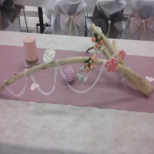 Décoration Mariage Thème Bois Flotté Rose Blanc Et Gris