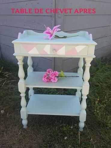 table de chevet peinte avec des couleurs poudrées, vert tendre,blanc et rose