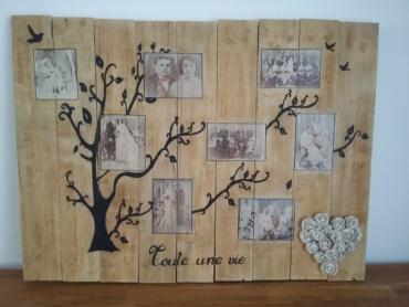 arbre généalogique fait tout en transfert de photos sur bois de palette