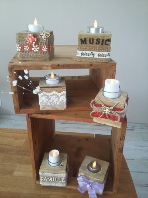 porte bougies en bois de palette