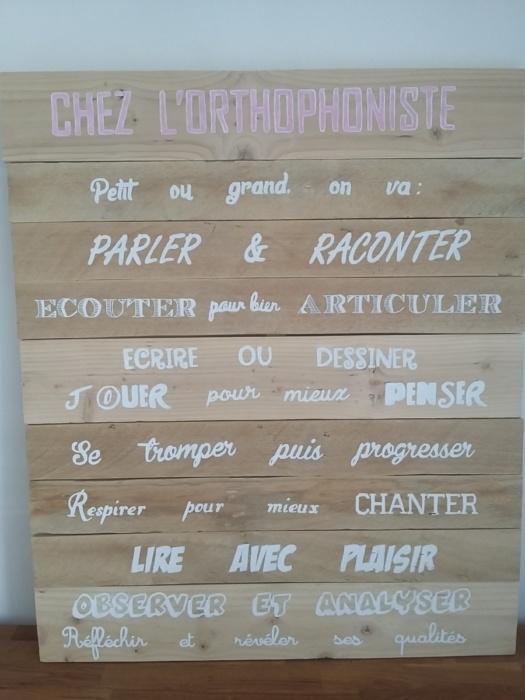 tableau en bois de palette avec inscriptions de différentes écritures de police décrivant le métier d'une orthophoniste.