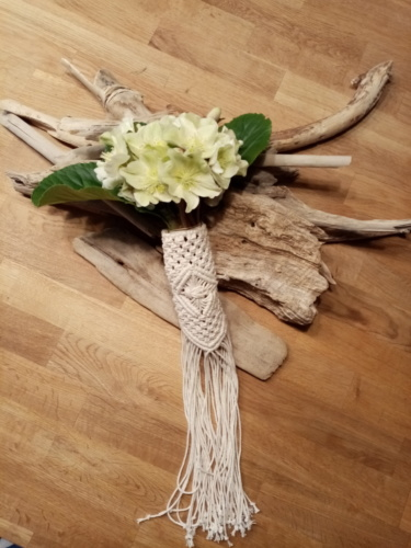 poignée en macramé 100% coton pour bouquet de mariée