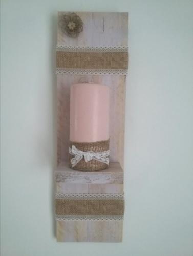 Porte bougie mural patine rose pastel avec ruban toile de jute et dentelle